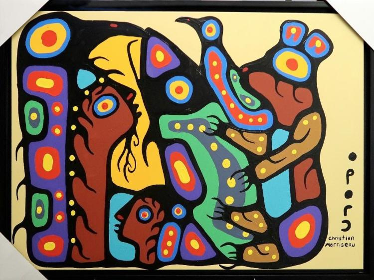 Artist: Christian Morrisseau (1969-) Title: 'Bear Doctor healing' Signed in Cree Syllabics. Titled in English au Verso. Medium: Acrylic on Canvas. (Framed) Size: 27