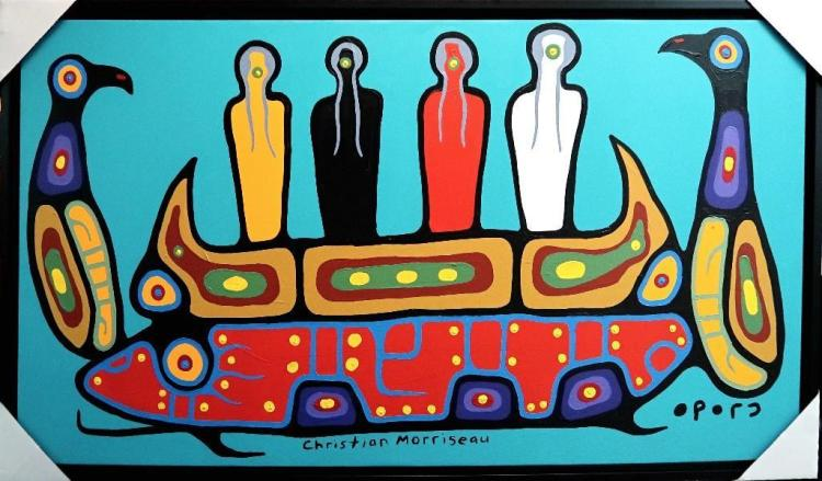 Christian Morrisseau (1969-) Four Spiritual Grandfathers. Signed in Cree Syllabics. Acrylic in canvas. 34 inches by 65 inches. Provenance: Artist's Studio/Auction Network Building/Markham, Ontario.