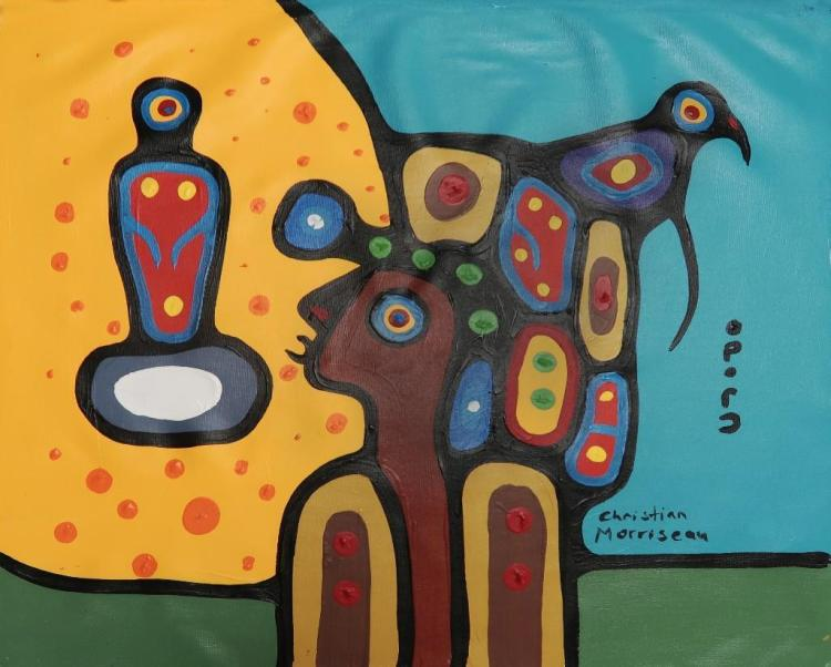 Christian Morrisseau (1969-) 'Grandfather Teaching of the Spirit World.' Signed in Cree Syllabics and English. Acrylic on Canvas. 19.75 inches by 22.25 inches.The Artist's Studio. Created under the exclusive agreement with Auction Network Management.