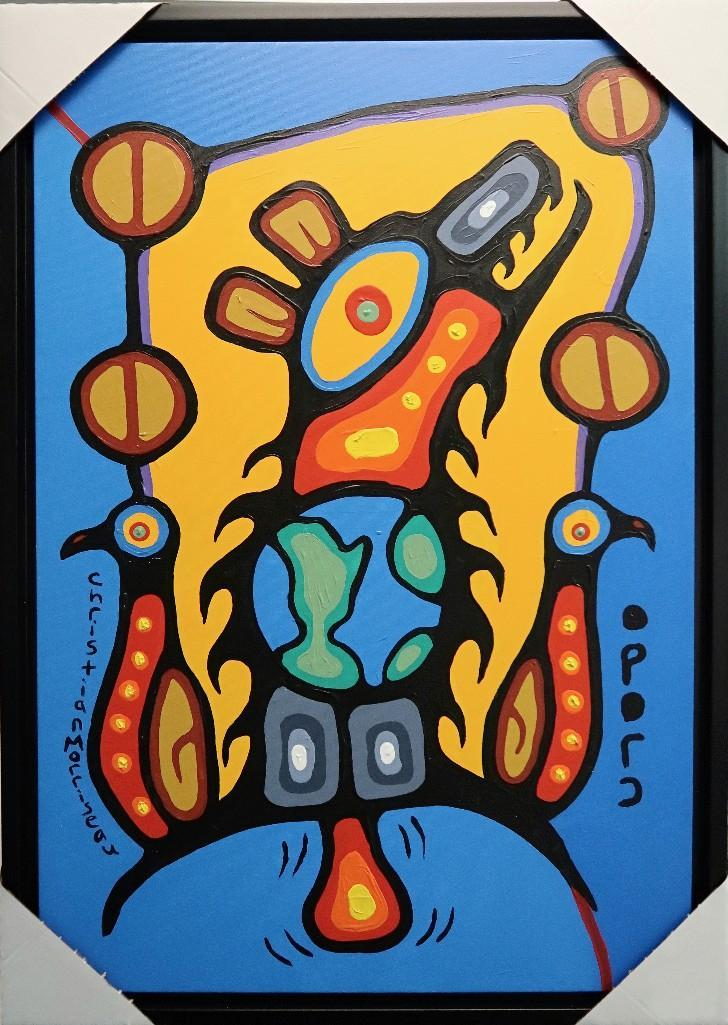 Christian Morrisseau (1969-) Bear Doctor Healing with Open Love. Signed in Cree Syllabics. Acrylic in canvas. 39 inches by 28 inches. Provenance: Artist's Studio/Auction Network Building/Markham, Ontario.