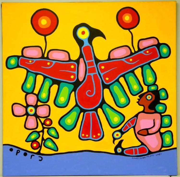 Artist: Christian Morrisseau (1969-) Title: 'Grandfather and Grandson (Norval and Kyle Morrisseau)