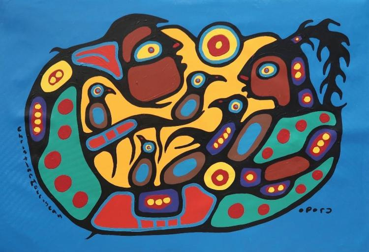 Christian Morrisseau (1969-) 'Woodland All in One' Signed in Cree Syllabics and English. Acrylic on Canvas. 27.75 inches by 39.25 inches. The Artist's Studio. Created under the exclusive agreement with Auction Network Management.