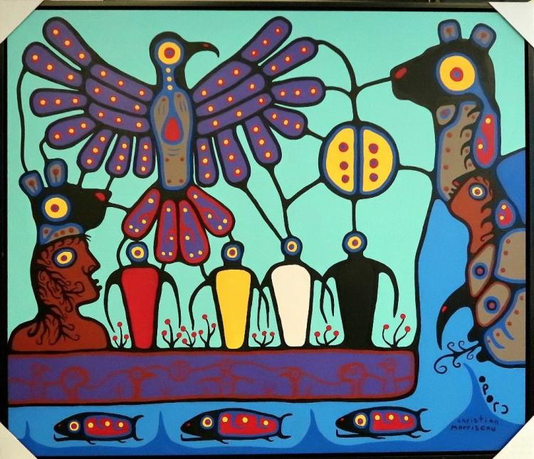 Christian Morrisseau (1969-) 'Thunderbird Rising' Signed in Cree Syllabics. Titled in English and Dated 2013. Acrylic on Canvas.52.5 x 61.5