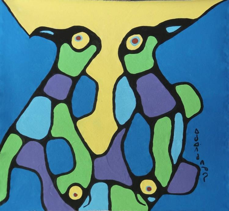 Norval Morrisseau (1932-2007) Untitled (loons and fishes, connected-dependency) Signed in Cree Syllabics Copper Thunderbird. Acrylic on Canvas. 31 inches by 33 inches. Private Collection, St. Thomas, Ontario. Appraisal Report: D. Paul Bremner