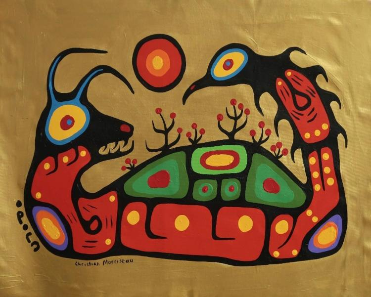 Christian Morrisseau (1969-) 'Shaman Wars' Signed in Cree Syllabics and English. Acrylic on Canvas. 23