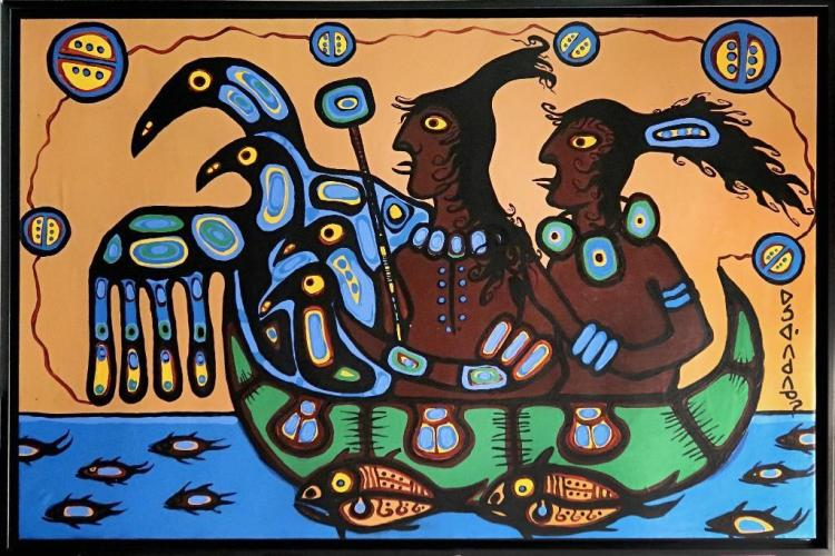 Norval Morrisseau (1932-2007) 'Norval and Wife' Signed in Cree Syllabics Copper Thunderbird. Signed, Titled and dated in English au verso 1987. Acrylic on Canvas. 38 inches by 59 inches. Private Collection, Thunder Bay, Ontario Mr. Jim White