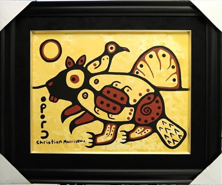 Christian Morrisseau (1969-) 'Woodland Beaver' Signed in Cree Syllabics and English. Acrylic on Canvas/Board (Framed) 22x28 inches. Artist's Studio. Created under the exclusive agreement with Auction Network Management.