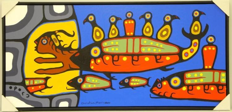 Christian Morrisseau (1969-) 'Ojibway Merman Legend' Signed in Cree Syllabics and English. Signed and Dated. Acrylic. (Framed) 23