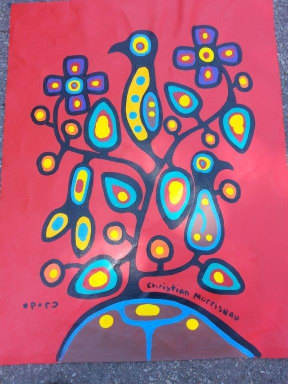 Artist: Christian Morrisseau (1969-) Title: 'Turtle Island Love' Signed in Cree Syllabics and English. Signed in English and dated au verso. Titled au verso. Medium: Acrylic on Canvas. Size: 32