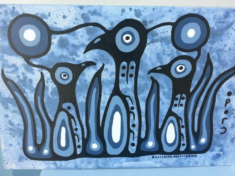 Artist: Christian Morrisseau (1969-) Title: 'Raising the Young with Love' Signed in Cree Syllabics and English. Signed in English and dated au verso. Titled au verso. Medium: Acrylic on Board. Size: 24