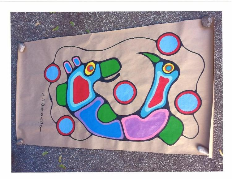 Artist: Norval Morrisseau (1932-2007) Title: 'Spiritual Unity- Bear and Bird' Signed in Cree Syllabics Copper Thunderhead. Signed, Titled and dated in English au verso 1988. Medium: Acrylic on Paper. Size: 30 x 48