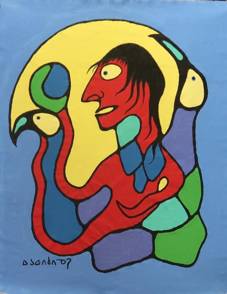 Norval Morrisseau (1932-2007)Untitled (a transformation) Signed in Cree Syllabics Copper Thunderbird. Signed and Dated in English au verso 1988. Acrylic on Canvas. 44