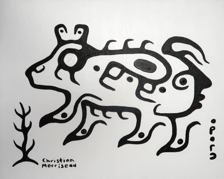 Christian Morrisseau (1969-) 'All is Well in One broken Place' Signed in Cree Syllabics and English. Acrylic on board. 16 inches by 20 inches. (Framed) The Artist's Studio. Created under the exclusive agreement with Auction Network Management.