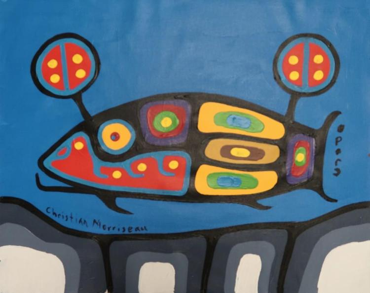 Christian Morrisseau (1969-) 'Life of Guiding into the Astral Plane' Signed in Cree Syllabics and English. Acrylic on Canvas. 19 inches by 23 inches. (Framed) The Artist's Studio. Created under the exclusive agreement with Auction Network Management.