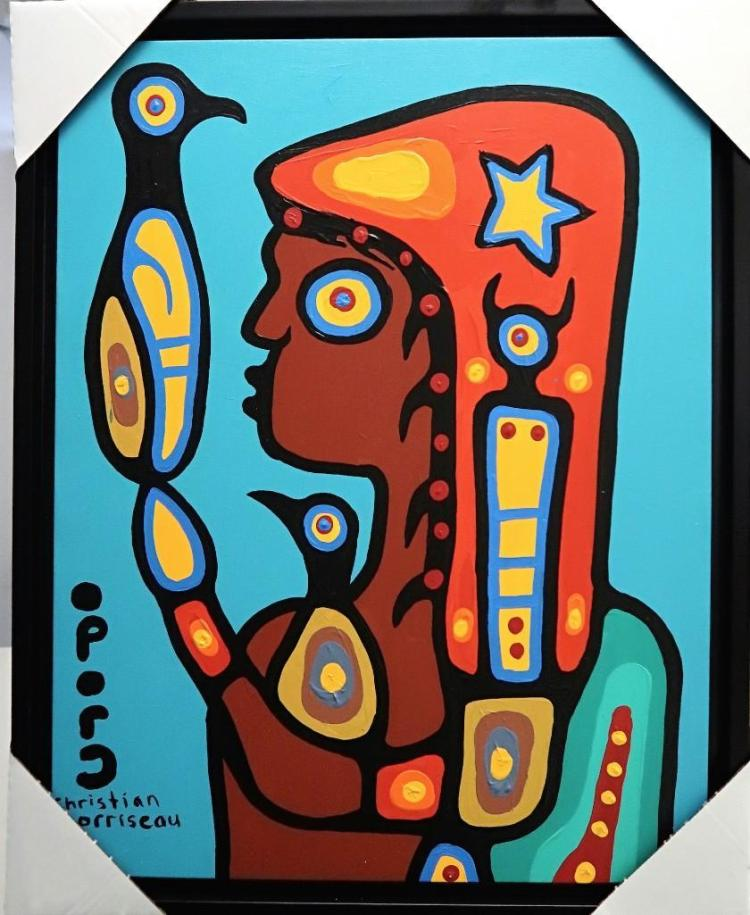Christian Morrisseau (1969-) Woodland Shaman. Signed in Cree Syllabics. Signed and Dated in English au verso. Acrylic in canvas. Size: 25 inches by 32 inches. Framed. Artist's Studio.