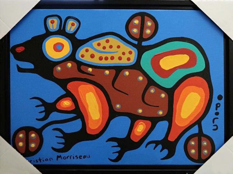 Artist: Christian Morrisseau (1969-) Title: 'Bear Walker' Signed in Cree Syllabics and English. Signed and Dated in English au verso. Titled au verso. Medium: Acrylic on Canvas. (Framed)