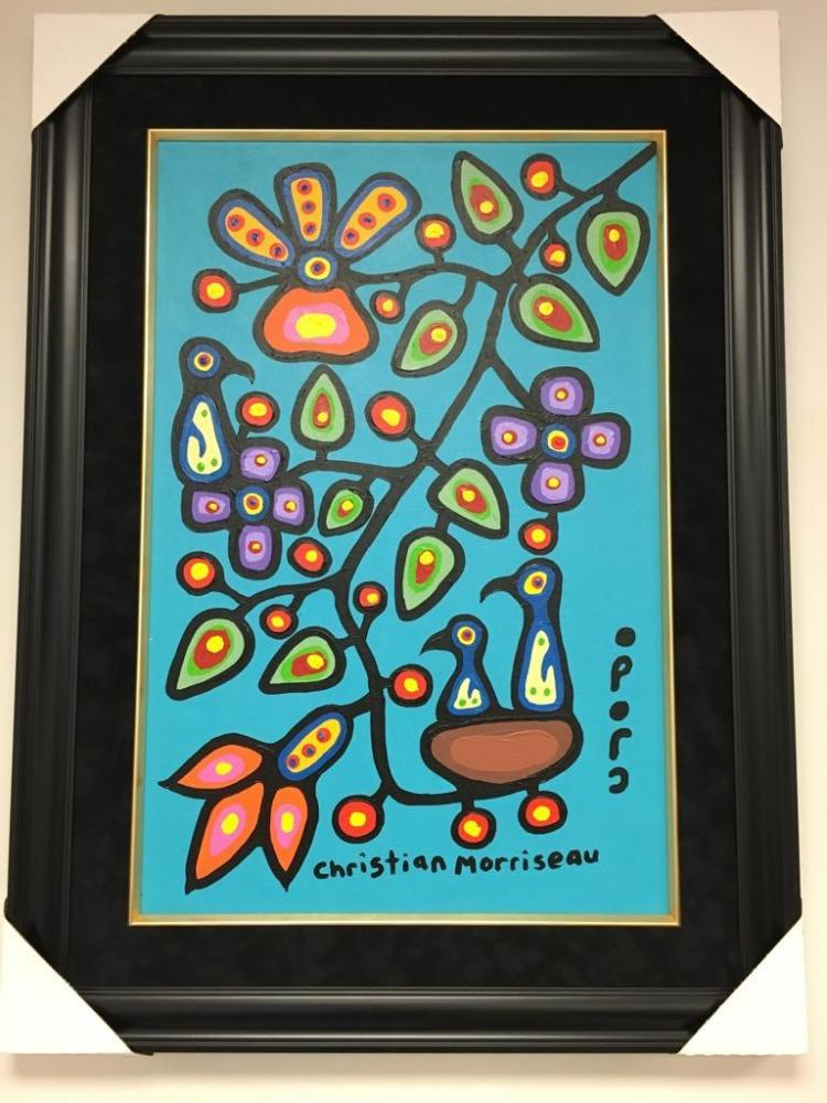 Christian Morrisseau (1969-). 'Oji-Cree Healing Flower Tree' Signed in Cree Syllabics and English. Signed and Dated. Acrylic on Board. 36