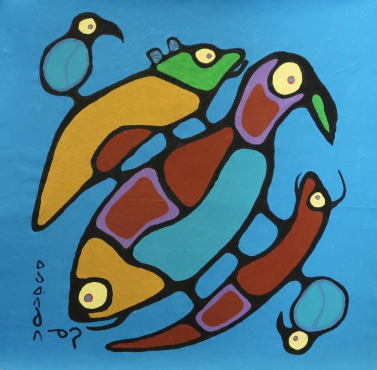 Norval Morrisseau (1932-2007) Untitled (animals together in animal heaven) Signed in Cree Syllabics Copper Thunderbird. Acrylic on Canvas. 30 inches by 31 inches. Private Collection, St. Thomas, Ontario. Appraisal Report: D. Paul Bremner.