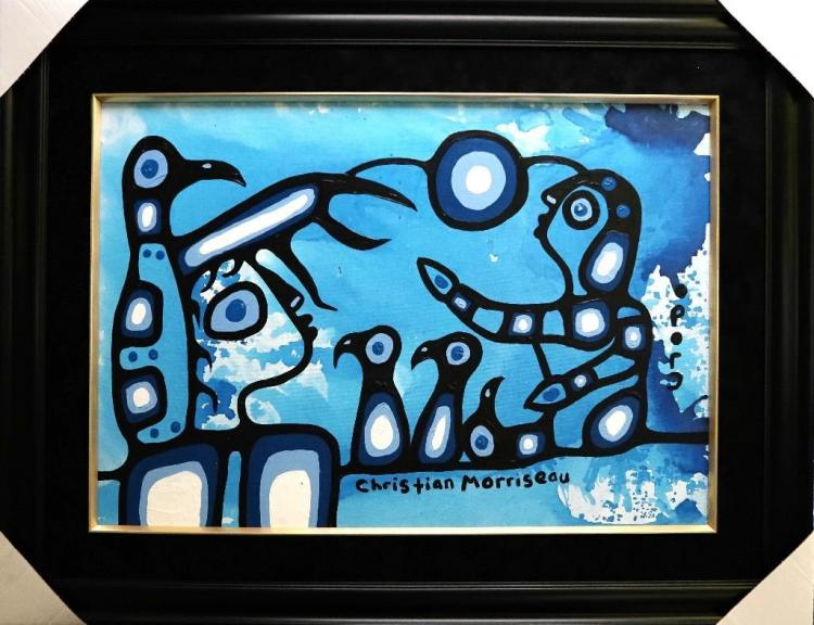Christian Morrisseau (1969-) 'Understanding the Thunder' Signed in Cree Syllabics and English. Acrylic on Canvas/Board (Framed)24