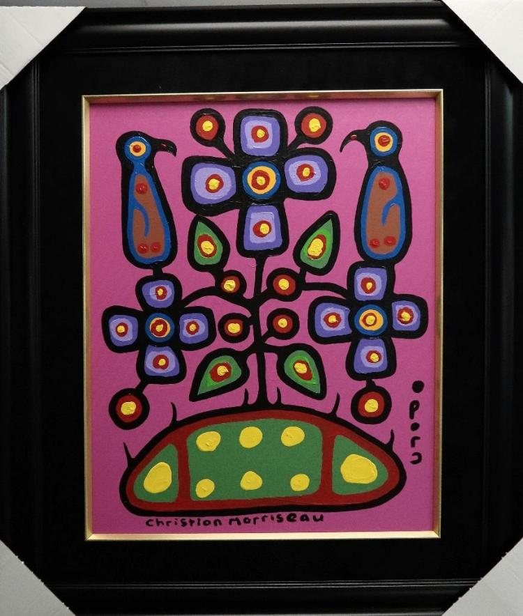 Christian Morrisseau (1969-) 'Melanie Kapepetum, Healing Flowers I' Signed in Cree Syllabics and English. Acrylic on Canvas/Board (Framed) 36