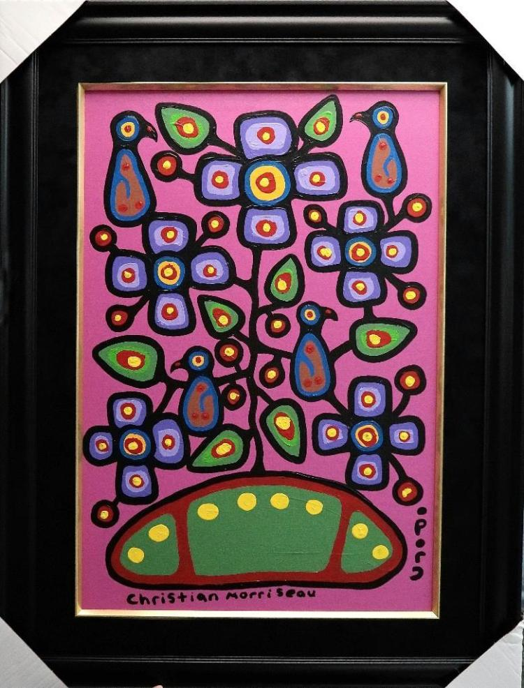 Christian Morrisseau (1969-) 'Melanie Kapepetum, Healing Flowers III' Signed in Cree Syllabics and English. Acrylic on Canvas/Board (Framed) 28