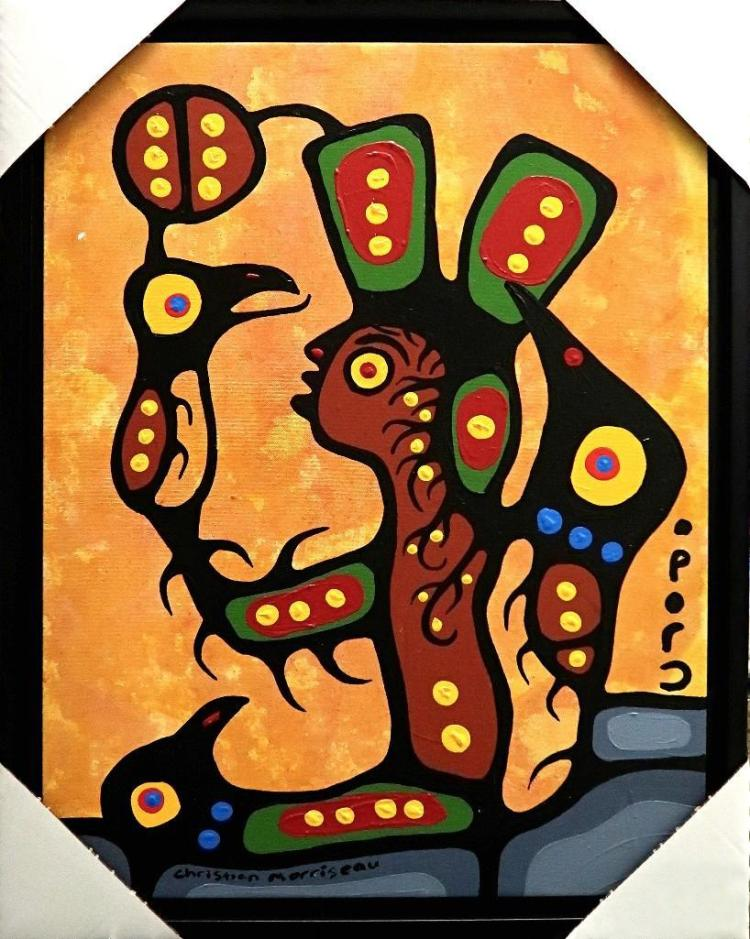 Christian Morrisseau (1969-) 'Chimo II' Signed in Cree Syllabics. Acrylic on Canvas. (Framed) 26