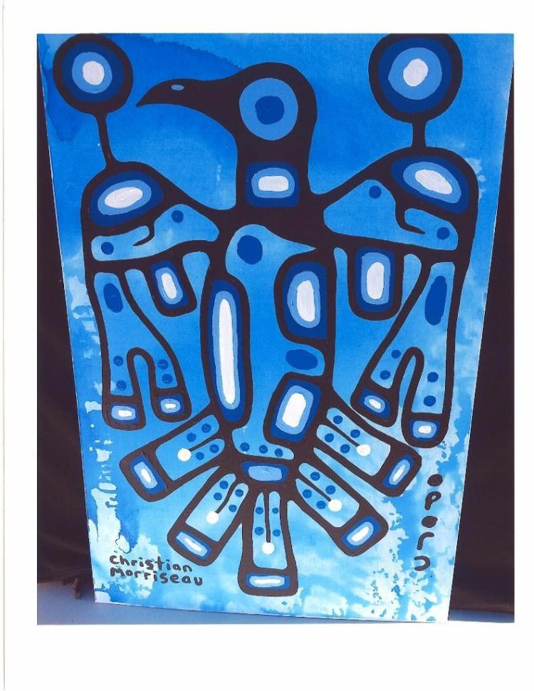 Christian Morrisseau (1969-) 'Water Spirit Flight' Signed in Cree Syllabics and English. Acrylic on Canvas/Board. (FRAMED) 36 inches x 24 inches. The Artist's Studio. Created under the exclusive agreement with Auction Network Management.