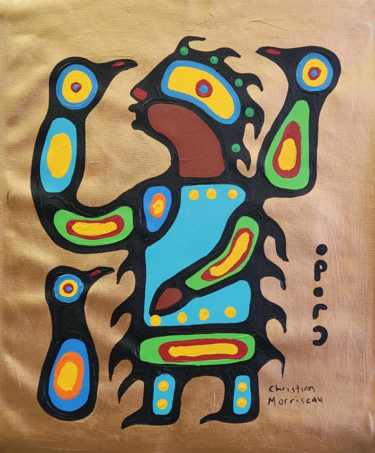 Christian Morrisseau (1969-) Kylie M. Playing with the Birds. Signed in Cree Syllabics and English. Signed and Date in English au verso. Acrylic. 23.75