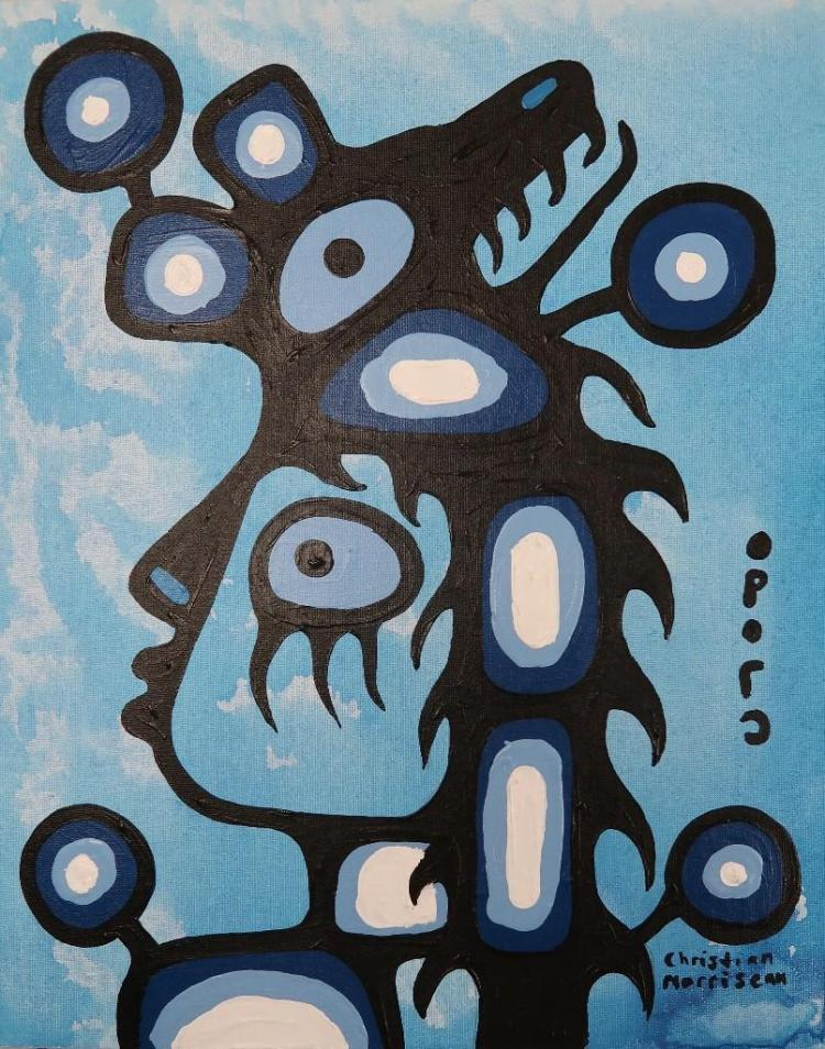 Christian Morrisseau (1969-) 'The Healer of Pain' Signed in Cree Syllabics and English. Acrylic on board. 20 inches by 16 inches. (Framed) The Artist's Studio. Created under the exclusive agreement with Auction Network Management.