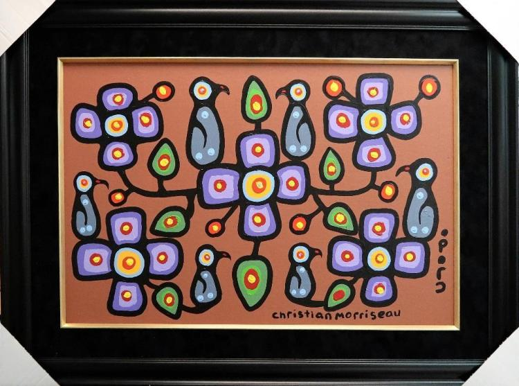 Christian Morrisseau (1969-) 'Oji-Cree Flowers for the Elders I' Signed in Cree Syllabics and English. Acrylic on Canvas/Board (Framed) 24