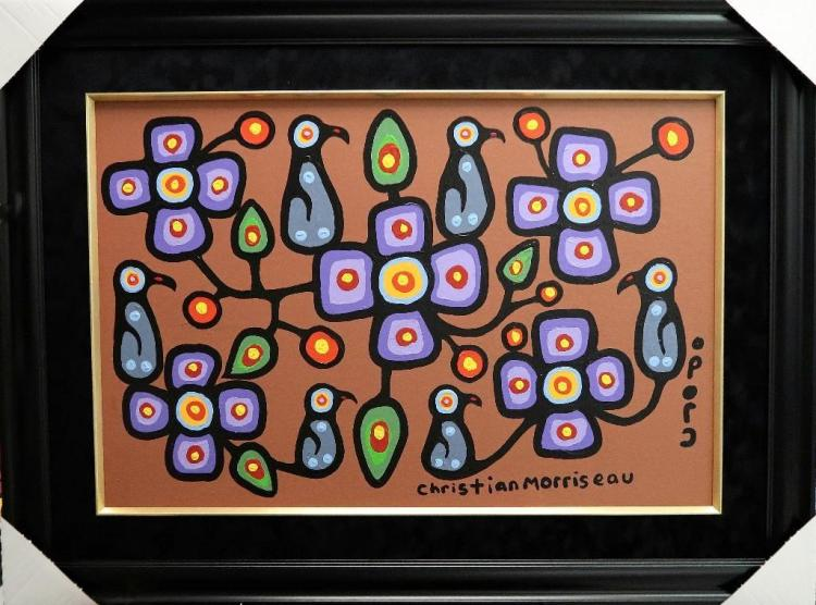 Christian Morrisseau (1969-) 'Oji-Cree Flowers for the Elders II' Signed in Cree Syllabics and English. Acrylic on Canvas/Board (Framed) 24