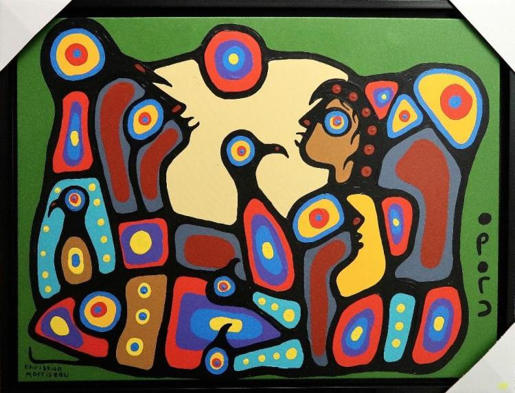 Artist: Christian Morrisseau (1969-) Title: 'My Left Hand' Signed in Cree Syllabics. Titled in English au Verso. Medium: Acrylic on Canvas. (Framed) Size: 26.5