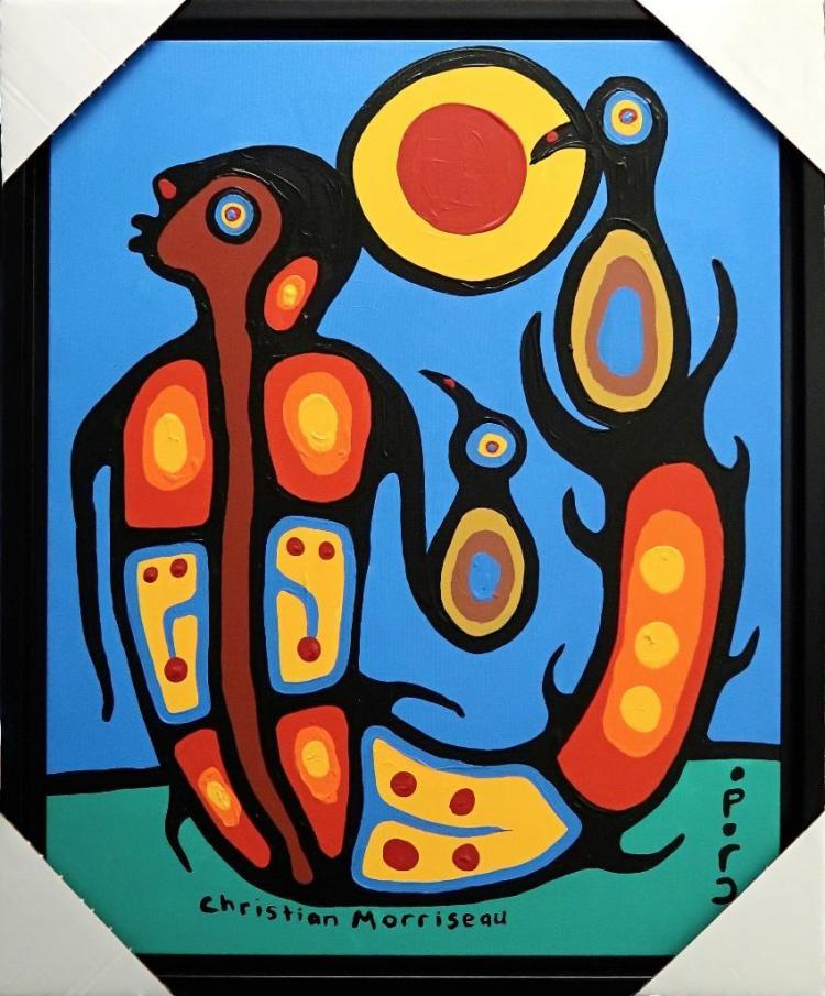 Christian Morrisseau (1969-) Ojibway Boy and Fish. Signed in Cree Syllabics. Acrylic in canvas. Size: 25 inches by 32 inches. Framed. Provenance: Artist's Studio.