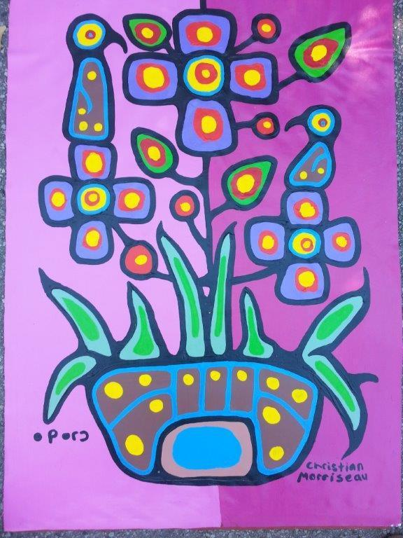 Artist: Christian Morrisseau (1969-) Title: 'Shamans Wife Harriet Morrisseau Flowers 1 of 2' Signed in Cree Syllabics and English. Signed in English and dated au verso. Medium: Acrylic on Canvas. Size: 39