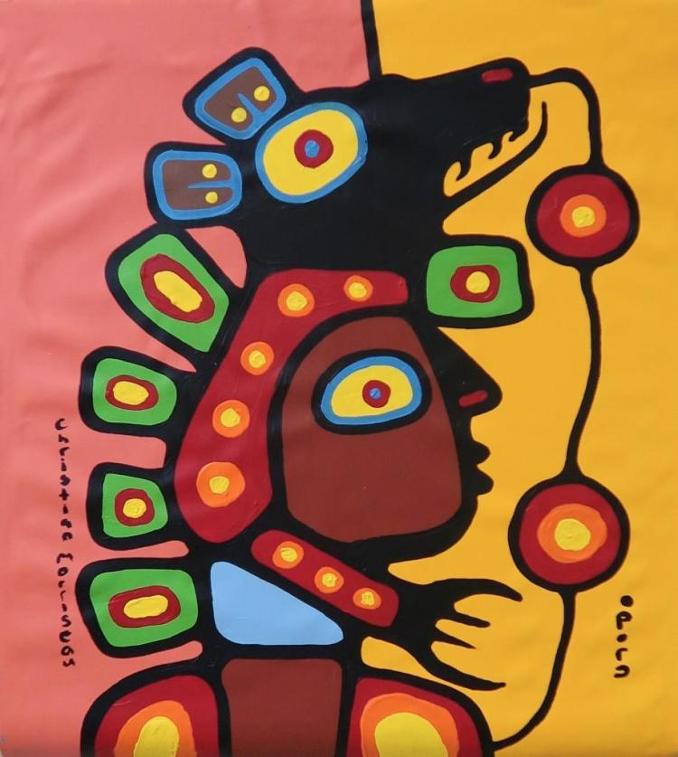Christian Morrisseau (1969-) 'Shaman Grandchildren, Bret M' Signed in Cree Syllabics and English. Acrylic on Canvas. 31.50 inches by 25.75 inches. The Artist's Studio. Created under the exclusive agreement with Auction Network Management.