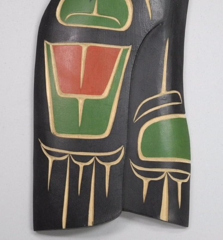 'Troy Baker' Original - West Coast Haida Indian Art Carved Cedar 'Raven' 'Squamish Nation' Signed. Estimate: $175.00-350.00. 17W x 6H