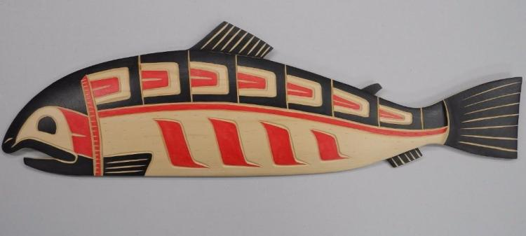 'Fred Baker' West Coast Haida Indian Art Carved Cedar - 'Salmon Plaque' Signed. 25W x 8H. Gallery: $675.00. Estimate: $300-$475.00