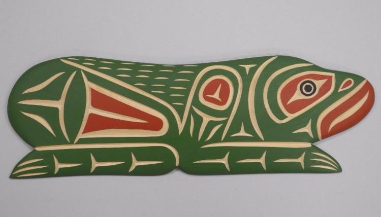 'Harvey John' West Coast Haida Indian Art Carved 'Frog' Signed. 17W x 6H. Gallery: $560.00. Estimate: $200-$375.00