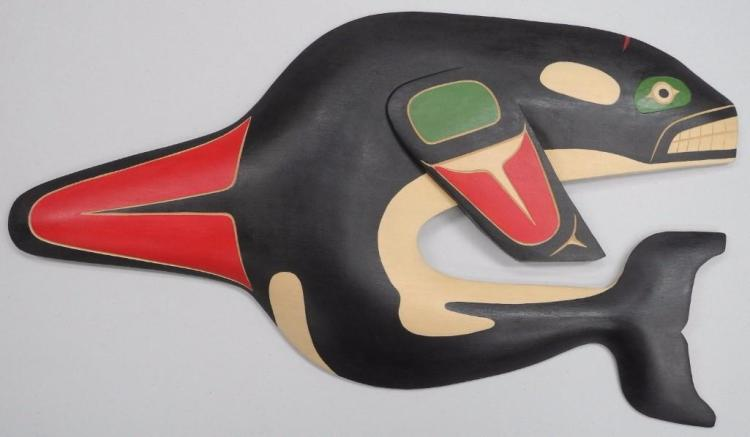 'Van Joseph' West Coast Haida Indian Art 'Squamish Nation' Carved Cedar - 'Killer Whale' 17H x 10W. Signed. Estimate: $200-$300.00