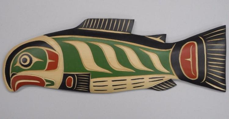 'Troy Baker' Original Cedar Carving, West Coast B.C. 'Haida Indian Art' 16W x 6H. Signed. Gallery: $425.00. Estimate: $150-$300.00