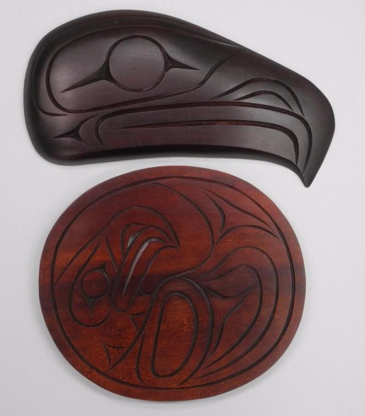 Pair - William Watt' Original West Coast B.C. 'Haida Indian art' 'Raven Head and Plaque' (10x11) and (13x16) Signed - Estimate: $200-$400.00
