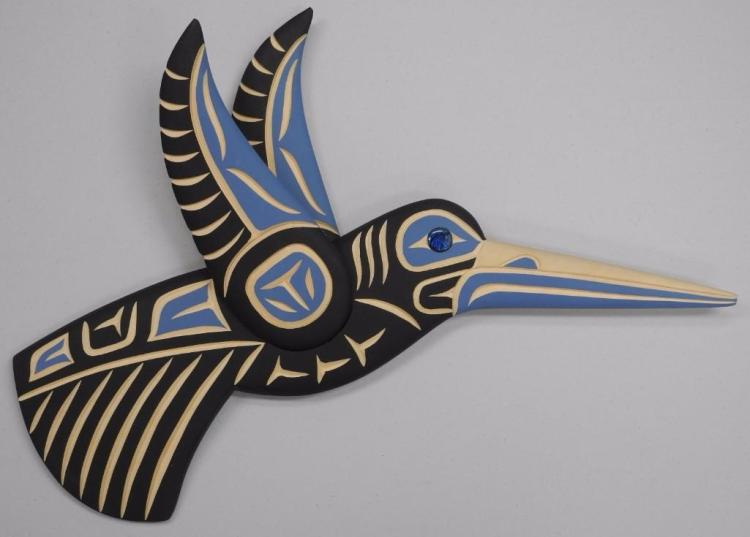 'Harvey John' Original - West Coast Haida Indian Art Carved Cedar 'Flying Hummingbird' Gallery: $675.00. Estimate: $250-$400.00. 17W x 9H
