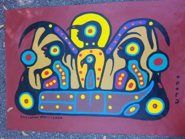 Artist: Christian Morrisseau (1969-) Title: 'Spiritual Grandfather Protecting the Young