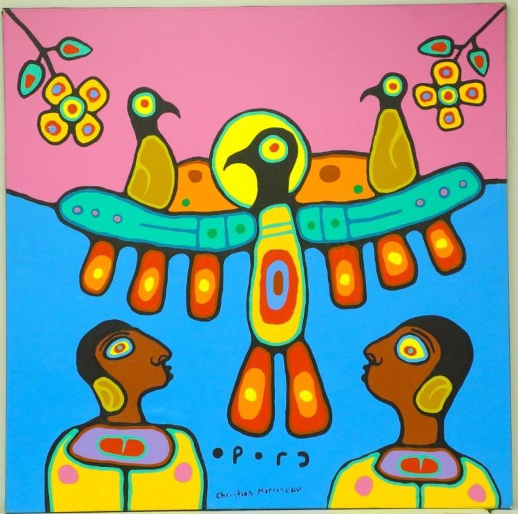 Artist: Christian Morrisseau (1969-) Title: 'Ojibwa Culture' Signed in Cree Syllabics and English. Signed in English and dated au verso 2010. Titled au verso. Medium: Acrylic on Canvas. Size: 56