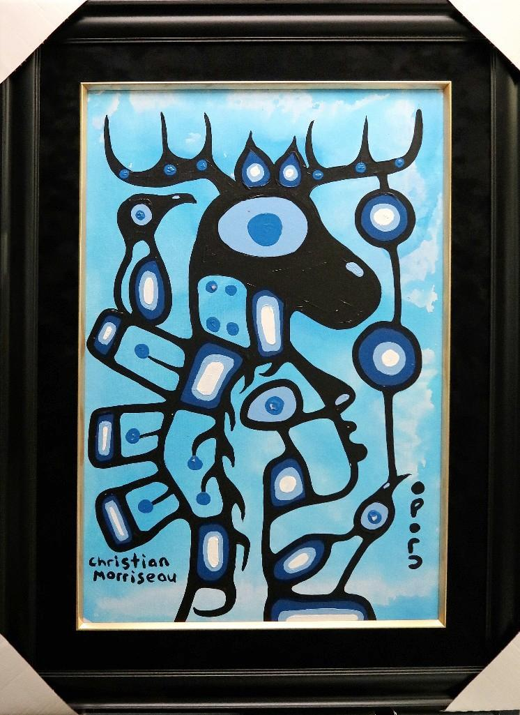 Christian Morrisseau (1969-) 'Pride' Signed in Cree Syllabics and English. Acrylic on Canvas/Board (Framed) 36