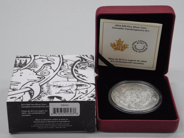 'Tim Barnard' Canadian Contemporary Artist 'Art Contemporian Canadien' 2014 - $30.00 .9999 Fine Silver Coin - engraved with art. LE / C.O.A. 2 ounces Silver- Low Mintage