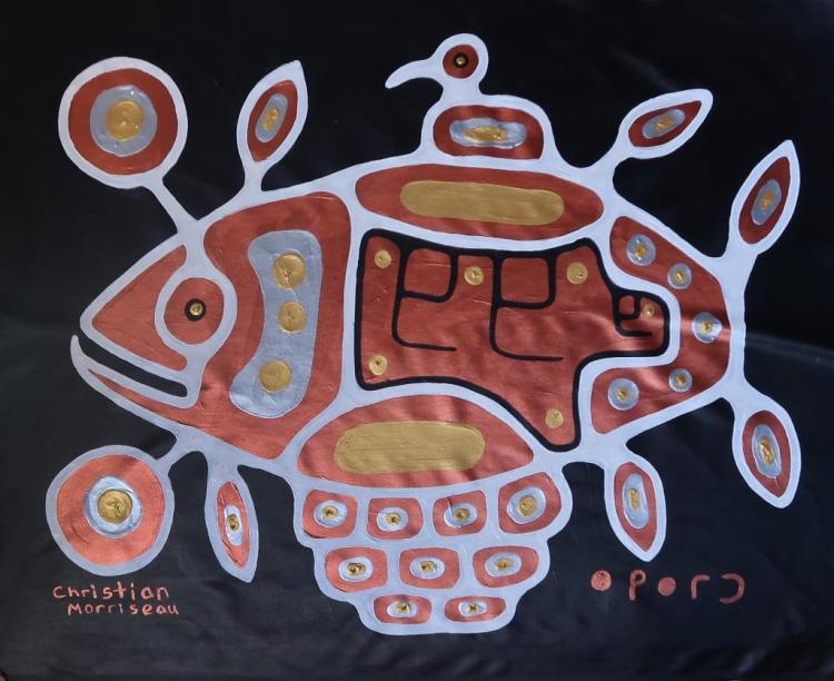 Christian Morrisseau (1969-) 'Sacred White Fish' Signed in Cree Syllabics and English. Signed and Dated. Titled in English au Verso. Acrylic. (Framed) 34.75