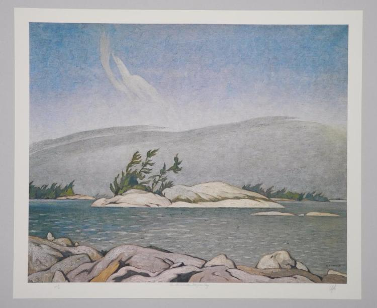 A.J. Casson (1898-1992) Litho 'In the Islands, Georgian Bay' Paper: 20x24, Image 17x22, Edition 300, Artists Proof 60. Hand Signed 'AJC' - Artist Proof # 17. Appraised: $3750.00 Audited. Estimate: $1000-$1800.00. RARE Artist Proof.