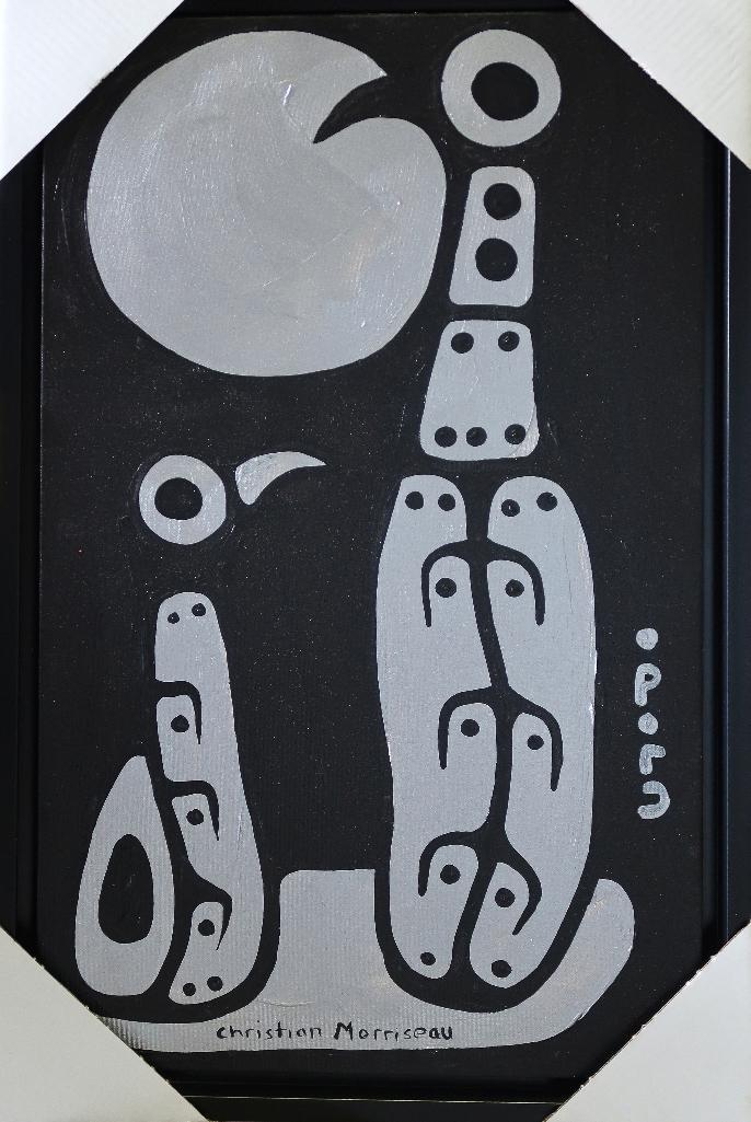 Christian Morrisseau (1969-) 'Loon Family Under the Moon' Signed in Cree Syllabics and English. Signed and Dated in English. Acrylic. (Framed) 32.75