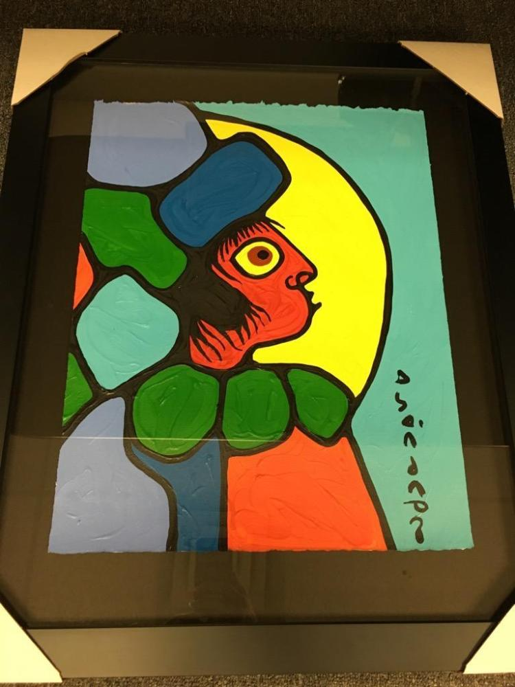 Norval Morrisseau (1932-2007) 'Spirit Child' Signed in Cree Syllabics Copper Thunderbird. Acrylic on Paper. : 20.5